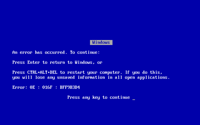 windows 98 blue screen of death