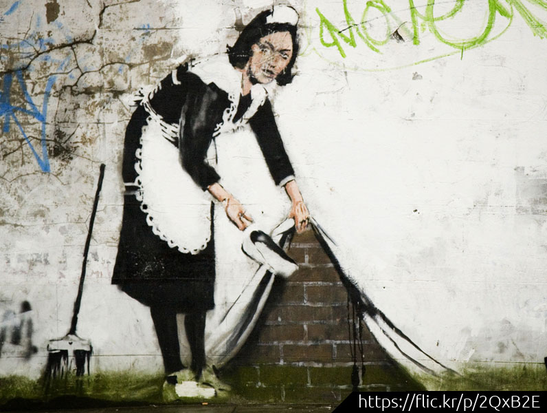 Banksy cleaning lady