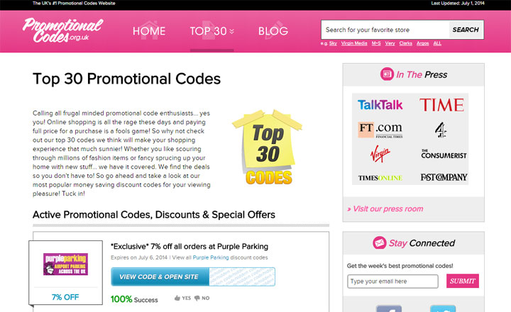 Promotional Codes wordpress website