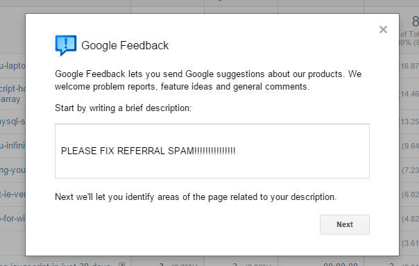 Google Analytics Feedback