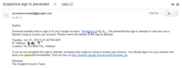 hijacked Google account
