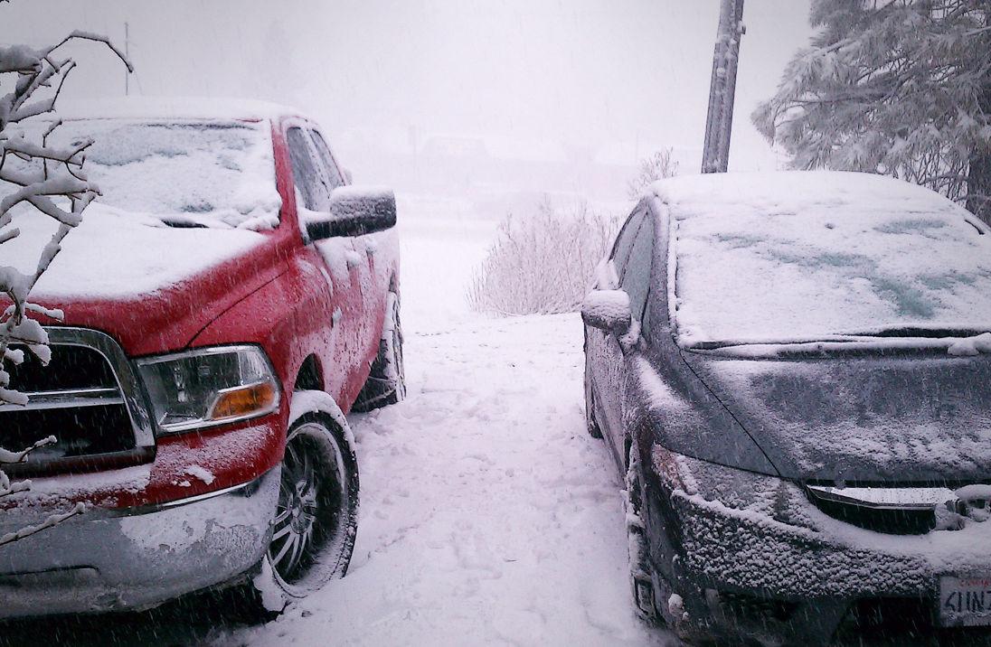 Frozen cars in Big Bear California