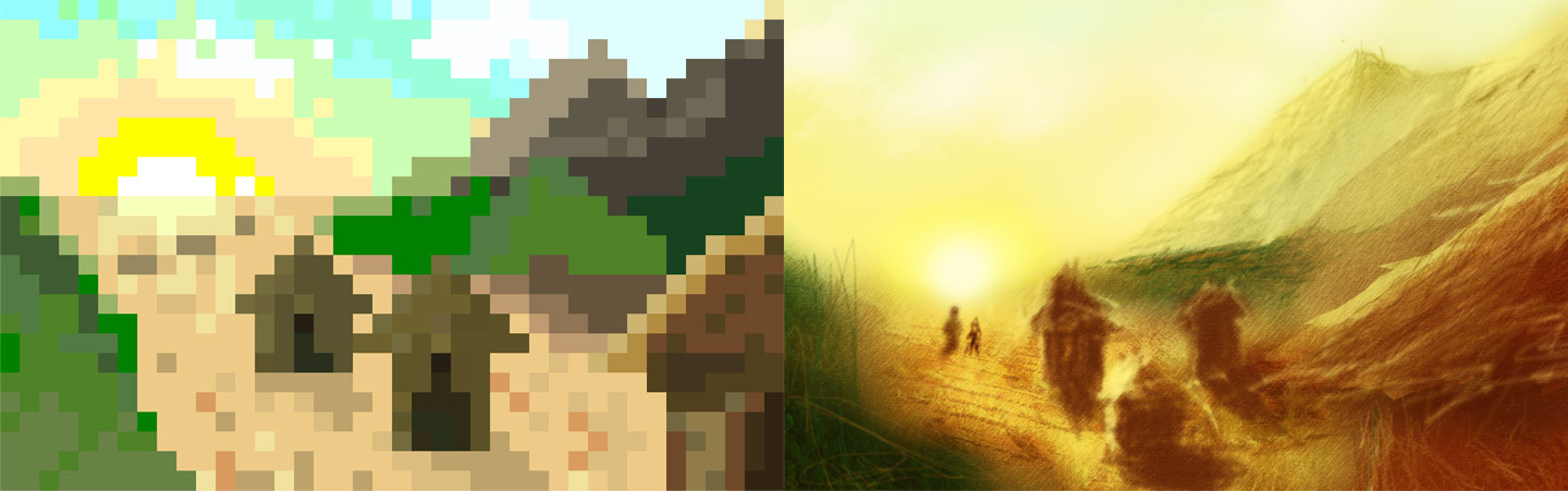 Village in pixel and in detail