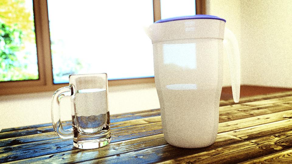 Large beer mug with water