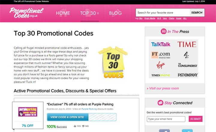 Promotional Codes wordpress website