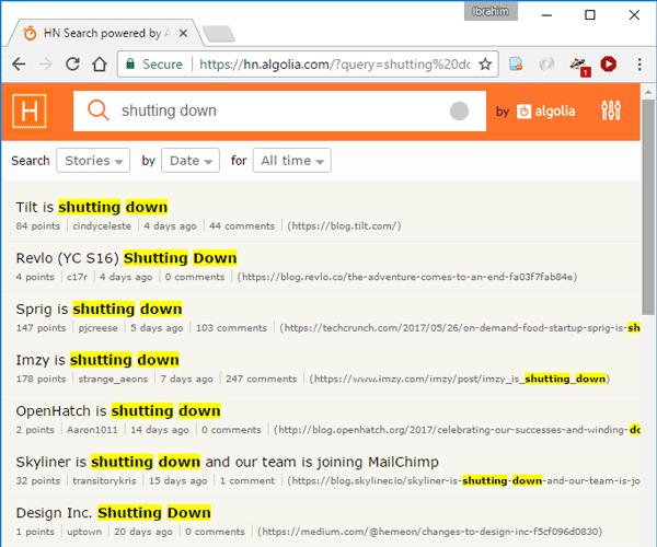 Start-ups shutting down