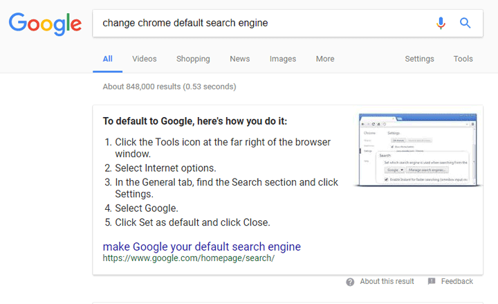 Google search to remove default search