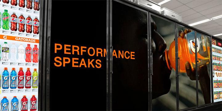 Door ad from cooler screens