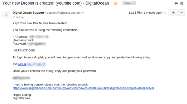 Digitalocean new droplet email
