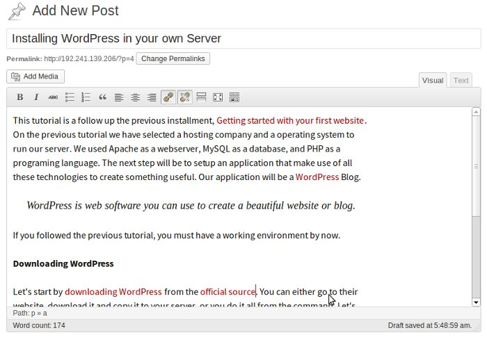 WordPress Creating a new post