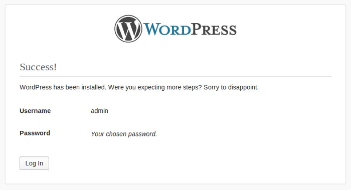 Wordpress installation complete