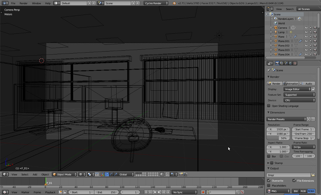 Office render wireframe